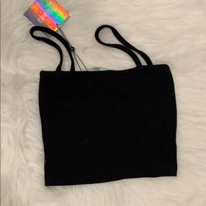 NWT BLACK CROP TOP/ Size 0- Missguided